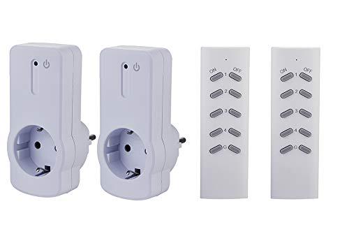 ZEYUN Enchufes Inalámbricos con control remoto (2+2) para interiores, 3680 vatios, alcance 30 m, con Control Remoto, Blanco (2 PACK)