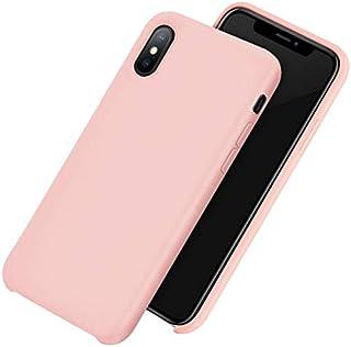 حافظة هاتف آيفون XS MAX 6.5 بوصة آبل آيفون 9 بلس غطاء واقي من السيليكون السائل مقاوم للكسر رفيع وردي