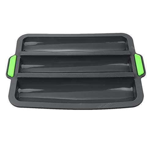 DOITOOL Silicona No- stick Pan Pan Pan Pan Pan Bandeja 3 ranuras Molde para hornear para cocina casera (negro)