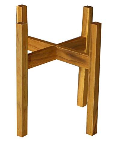 Supporto per piante moderno Mid Century con gambe quadrate, supporto per fioriera, fatto a mano in Canada, legno di noce, decorazioni per la casa retrò (10, beige)
