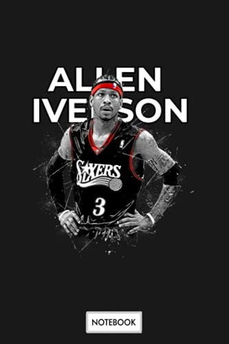 Allen Iverson Notebook: Journal, Diary, Planner, Lined College Ruled Paper, Matte Finish Cover, 6x9 120 Pages
