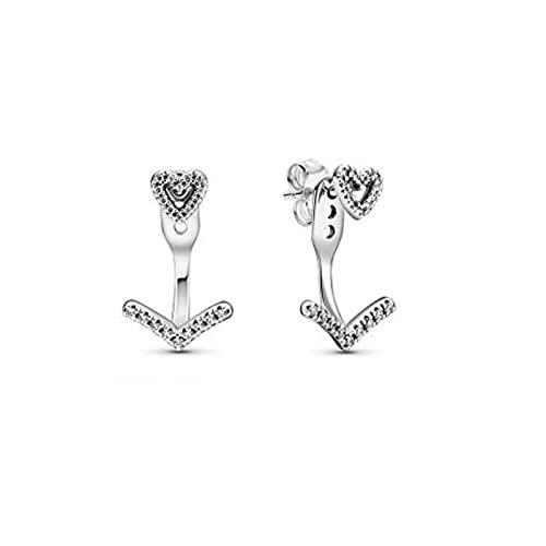 Pandora 925 plata esterlina colgante Diy San Valentín nuevos pendientes de plata esterlina una flecha perfora los pendientes del corazón original mujer oreja joyería regalo