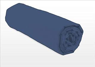 Home Linge Passion Drap Housse 100 % Coton 57 Fils 90X190 cm Bleu 1 Personne Bonnet de 25 cm