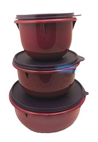Tupperware® Peng Rührschüssel 3er-Set 1,0 + 2,0 + 3,0 L Schüssel Teig-Schüssel Hefeteig Bordeaux lila NEU+OVP