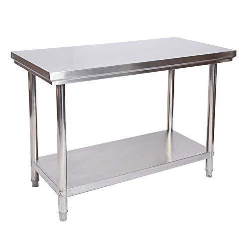 Wiltec Edelstahl Tisch Arbeitstisch Edelstahltisch Gartentisch 120 x 60 x 85 cm