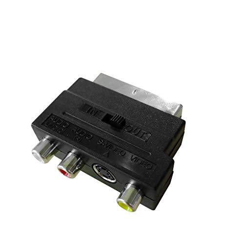 rongweiwang 21Pin SCART a 3 RCA Adaptador convertidor RGB convertidor de S-vídeo o SCART a RCA Compuesto S-Video AV TV o Adaptador