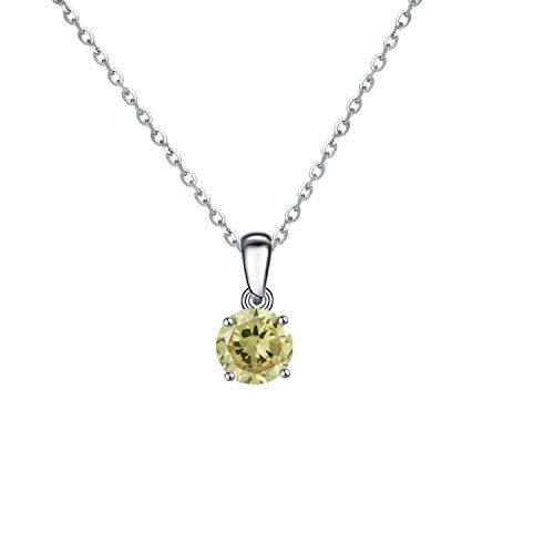 Sterling silver birthstone colour pendant and chain (August - Peridot colour) (Peridot)