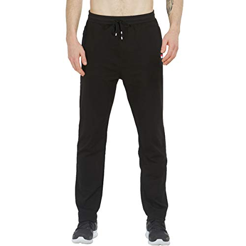 Tansozer Jogginghose Herren Baumwolle Sporthose Lang Ohne Bündchen mit reißverschluss Taschen Schwarz 2XL