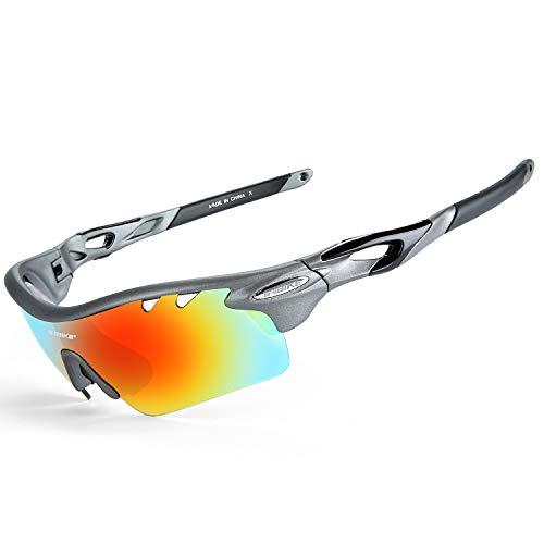 Inbike Gafas de Sol Polarizadas Para Ciclismo con 5 Lentes Intercambiables Uv400 y Montura de Tr-90, Gafas Para Mtb Bicicleta Montaña 100% de Protección Uv(Gris)