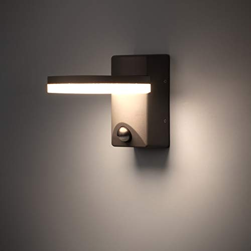 FLORNIA LED Außenlampe mit Bewegungsmelder Außenbeleuchtung Aussenleuchte wetterfest Türleuchte für Garten 220-240V 4000K 12W IP44 Dunkelgrau