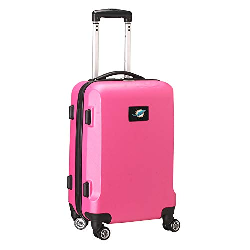 Denco NFL Miami Dolphins Carry-On Hardcase Luggage Spinner, Pink