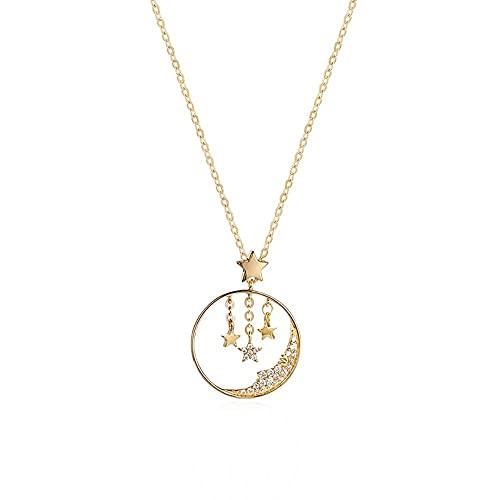 collar mujer plata Collar de cielo estrellado,cadena de clavículafemenina paranovias y mejores amigos, regalos de cumpleaños T0883A Yhgjhuie
