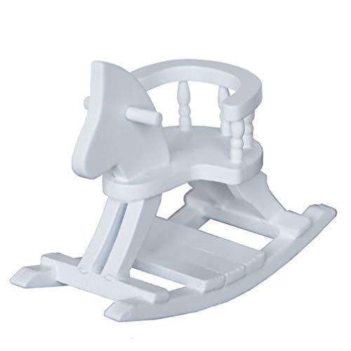 Kisangel - Mini casa de muñecas de madera para bebé, diseño de caballo balancín, silla, juguete para cumpleaños, año nuevo, regalo para niños (blanco)
