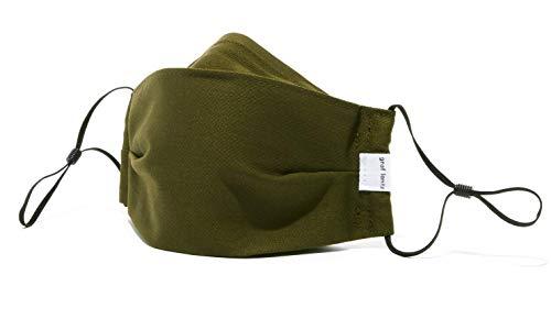 Graf Lantz Zenbu Organic Cotton Face Mask - Regular Over Ear with Adjusters - Reusable & Machine Washable (Regular, Olive)