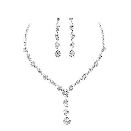UDORA Sliver Flower Necklace Earrings Jewelry Sets for Wedding Bridal Party