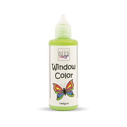 German Deco Art Window Color 82ml (Hellgrün) - Abziehbare Fenstermalfarbe/Stickerfarbe auf Wasserbasis für Glatte Oberflächen wie Glas, Spiegel Fliesen