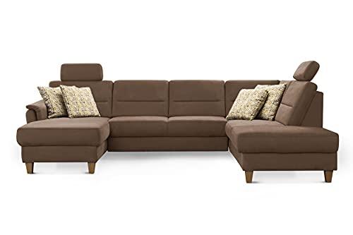 CAVADORE Wohnlandschaft Palera / Federkern-Sofa in U-Form mit 2 Kopfstützen / 314 x 89 x 212 / Mikrofaser, Hellbraun