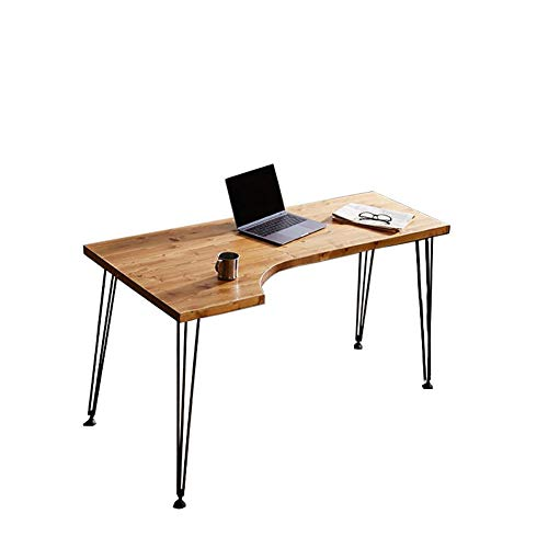 Schreibtisch, Schreibtisch L Form, Eckschreibtisch L-FöRmiger Computertisch Mit Eisen-UnterstüTzung, Platzsparend, Einfache Montage, Dreieckiges Mechanisches Design, Massivholz