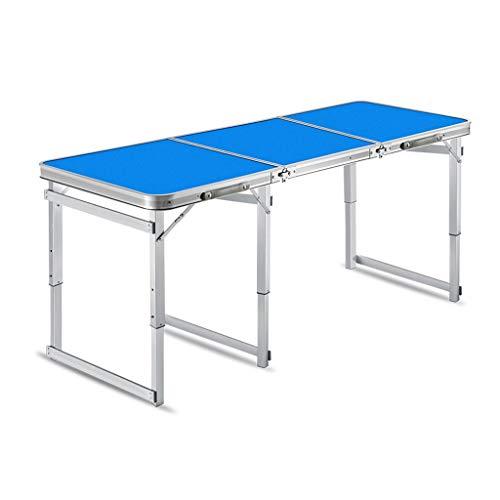 Un Camping Pliable et Portable en Aluminium Table Desk Table Pliante réglable en Plein air Barbecue Portable Tables Rain (Color : Blue)
