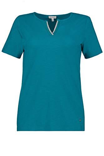 GINA LAURA Damen T-Shirt, verzierter Keilausschnitt, Flammjersey pagodenblau XL 726254 89-XL