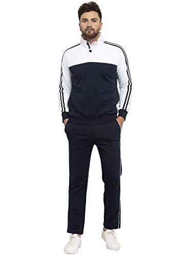 Wild West Gents Buttoned Collar Black and White Tracksuit for Men
