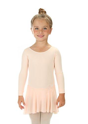 elowel | Mädchen | Sport-Ballet-Tanztrikot | Tutu | Gymnastikanzug, Leotard | Langaermelig - Mit Rock, Rüschen | Elegant & Bequem | Größe: 12-14 Jahre | Farbe: Hautfarbe-Rosa