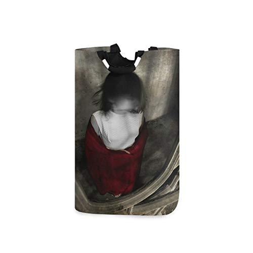 COFEIYISI Grande Cestino della Biancheria,House Girl Pain Abito Bianco Sciarpa Rossa spettrale Essere Umano Horror Devil Vintage Doll Nero Creepy Dark Face,Cesta per Bucato Pieghevole