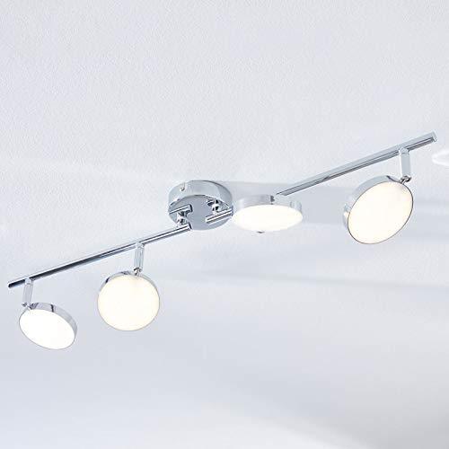 Lindby LED Deckenlampe 'Keylan' (Modern) in Chrom aus Metall u.a. für Wohnzimmer & Esszimmer (4 flammig, A+, inkl. Leuchtmittel) - Deckenleuchte, Wandleuchte, Strahler, Spot, Lampe, Wohnzimmerlampe