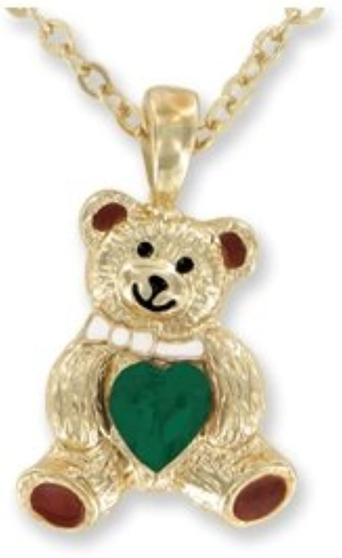 Teddy Bear Birthstone Necklace AUGUST  faux PERIDOT