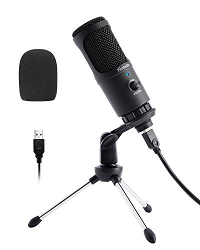 USB Microphone with Cardioid Pick-up Pattern, Plug & Play Computer Microphone with Volume Control for Recording Voice, Streaming, Gaming, YouTube Videos