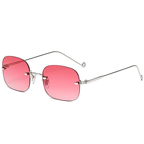 Único Gafas de Sol Sunglasses Gafas De Sol Rectangulares Sin Montura Punk para Hombres Y Mujeres, Tonos Vintage Uv400, G