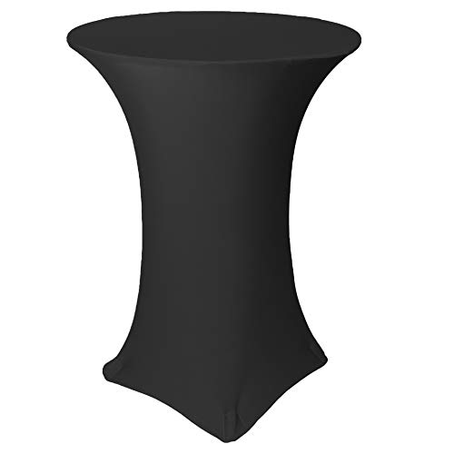 Your Chair Covers - 30' D x 42' H Highboy Cocktail Round Stretch Spandex Table Cover - Black, Fitted Elastic Tablecloth for Round Tables, Outdoor Party DJ Tradeshow Banquet Vendor Wedding