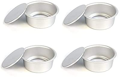 Astra Gourmet 4-Inch Perfect Performance Aluminium Round Cake Pan Chiffon Cake Mold Baking Mould with Removable Bottom, Set of 4