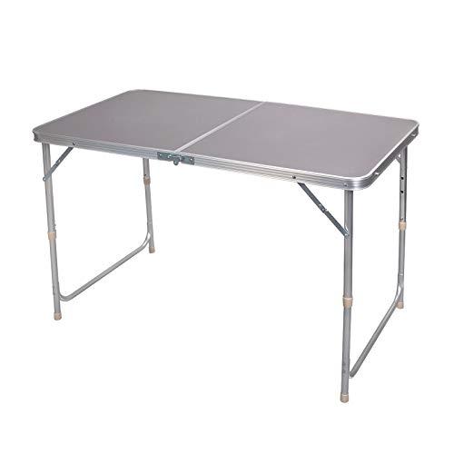 eSituro Campingtisch Reisetisch zusammenklappbar Pickniktisch höhenverstellbar 120x60x55-62-70cm, Tischplatte aus MDF, Grau