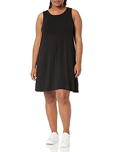 Amazon Essentials Vestido con Vuelo, de Talla Dresses, Negro, 6XL Grande