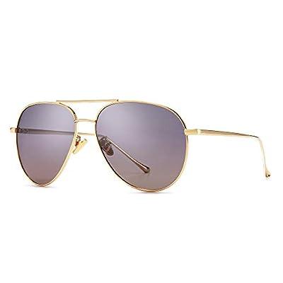 SUNGAIT Women's Lightweight Oversized Aviator Sunglasses - Polarized Lens (Light Gold Frame/Non-mirrored Purple Gradient Lens, 60) 1603JKSZ