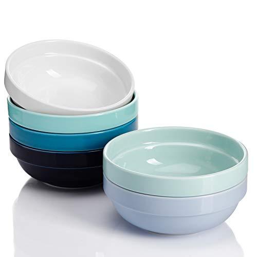 Sweese 119.003 stapelbare Porzellan-Schalen – 568 ml für Müsli, Salat – Set mit 6 verschiedenen Farben