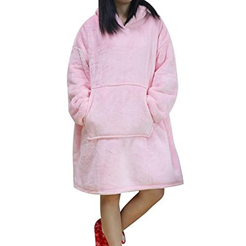 Zhouwei Manta de gran tamaño con capucha de invierno con capucha y bolsillo con capucha y mangas Sudaderas a cuadros con bolsillo para mujer (color: rosa bebé, tamaño: talla única)