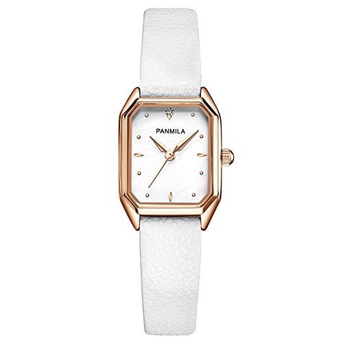 YIBOKANG Reloj De Temperamento Simple De La Superficie De La Mujer De La Mujer con La PU Cuadrada Retro con La Hebilla De La Aguja Reloj De Piedra (Color : Blanco)