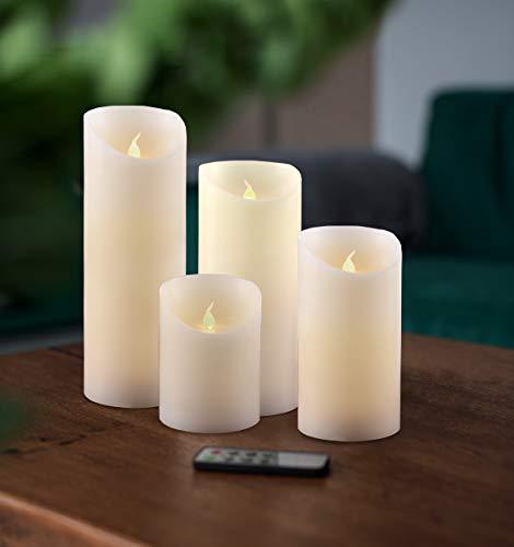 DecoKing LED Kerzen Set 4tlg 10 cm 12,5 cm 15 cm und 20 cm Flammenlos Echtwachs batteriebetrieben innen außen