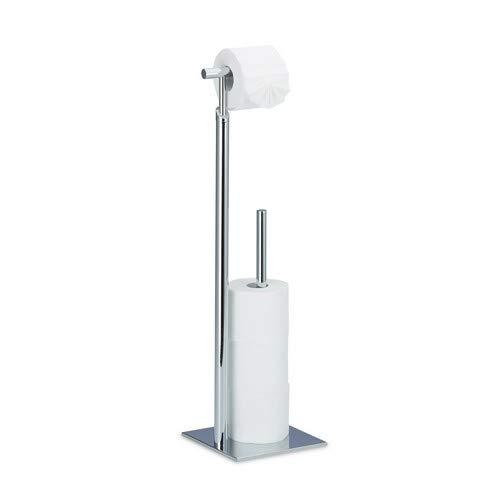 Relaxdays Toilettenpapierhalter stehend PAGNONI, Rollenhalter Toilettenpapier, 4 Ersatzrollen, HBT 71x20x20 cm, silber