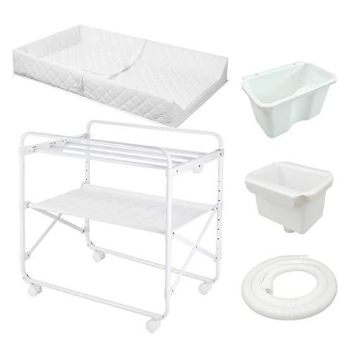 ZAQI Wickelkommode wickelaufsatz wickeltisch Weiße Wickeltische für kleine Räume und Badezimmer, Faltbare, verstellbare Kindergarderoben mit Aufbewahrung, 85x50x110cm