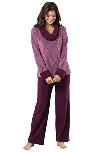 PajamaGram Super Soft Pajamas for Women - Womens Pajama Sets, Plum, M, 8-10