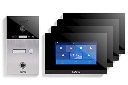 GVS AVS5087U - Videoportero de 4 cables/IP, IP65, RFID, Fingerprint, 4 monitores de 7 pulgadas, aplicación, cámara HD 120°, apertura de puerta, 32 GB de memoria, conmutador PoE, 1 juego familiar
