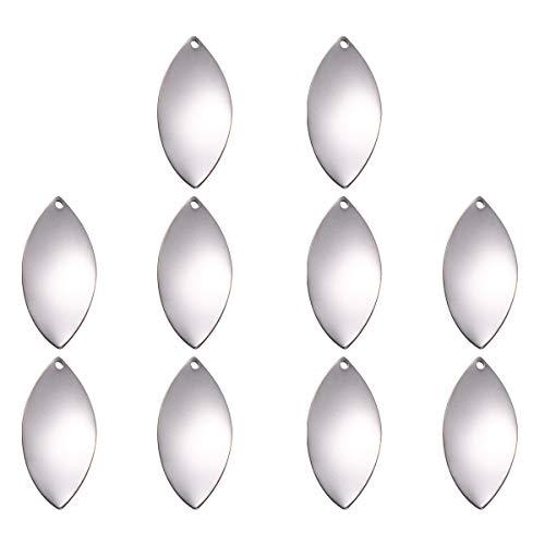 WINOMO Abalorio de joyería, 10 piezas de acero inoxidable colgante de hoja accesorios DIY colgante joyería colgante pendientes adornos para mujeres y mujeres (plata)