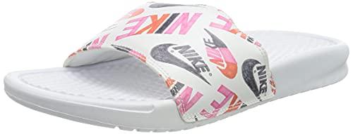 Nike Wmns Benassi JDI Print, Zapatilla de Correr Mujer, Blanco/Negro/Loto Naranja De Equipo Rosado, 36.5 EU