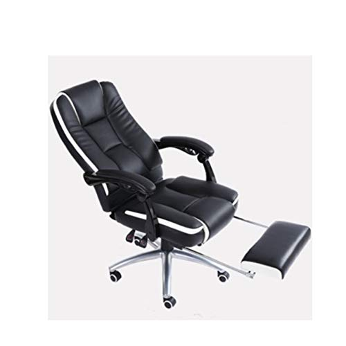 HIZLJJ Office Chairs Executive Chair Ergonomic Office Chair Adjustable Recliner Managerial Computer Desk Chair with Retractable Footrest Big Tall Rolling Swivel with Caster,Black (Size : B)