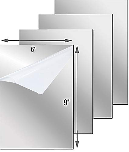 Flexible Mirror Sheets with Self Adhesive Back, 6 x 9 Inches, 4 Mirrored Sheets, Non Glass, Easy to Use and Cut to Size.