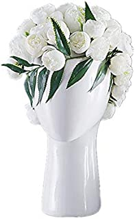 JCPIING Head Shape Creative Ceramic Cool Artificial Flower Vase Modern Home Decorations Interior Ornaments Diplay Decors Artwork Without Artificial Flower(Glossy White)