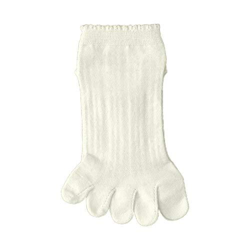 Hergon - Calcetines de verano para mujer, diseño de cinco dedos de los pies, malla hueca, transpirable, volantes, hoisery, regalo de cumpleaños blanco Talla única